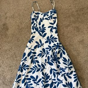 Blue and white thin strap dress